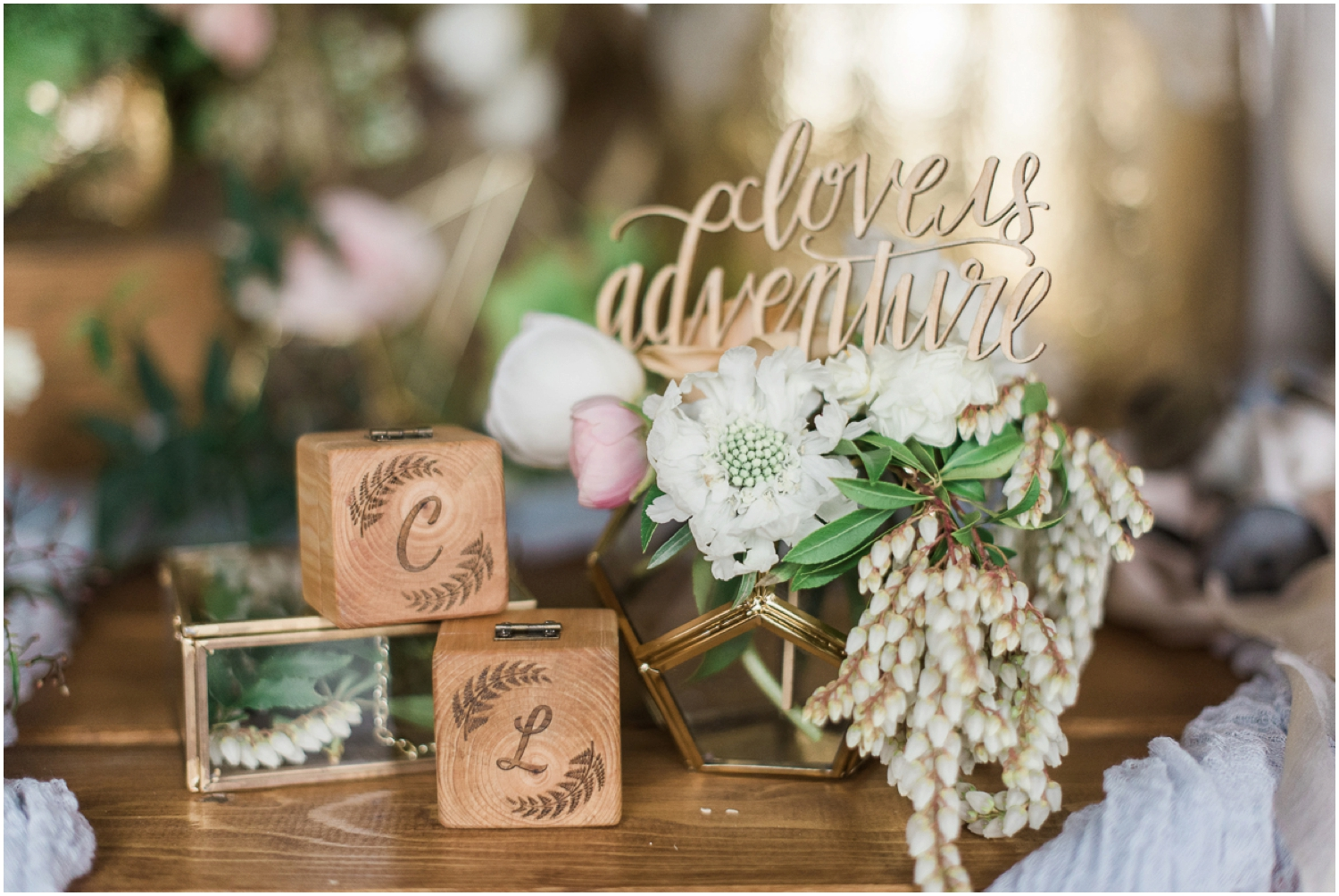 Dairyland french rustic lesbian 2 brides wedding. Romantic. Feminine. Calligraphy. Ferns. Candlelight