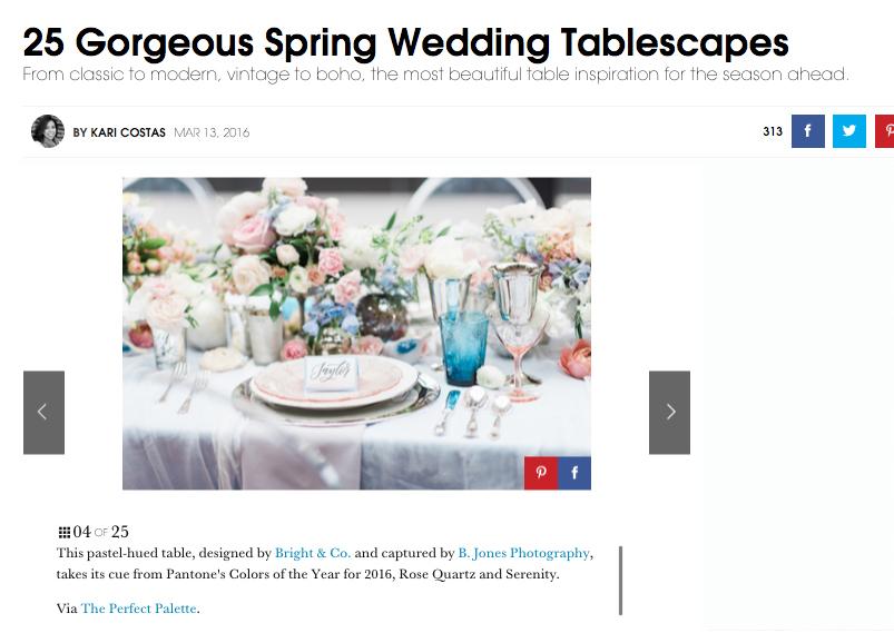 As Seen in elle Magazine Weddings- Rose Quartz & Serenity
