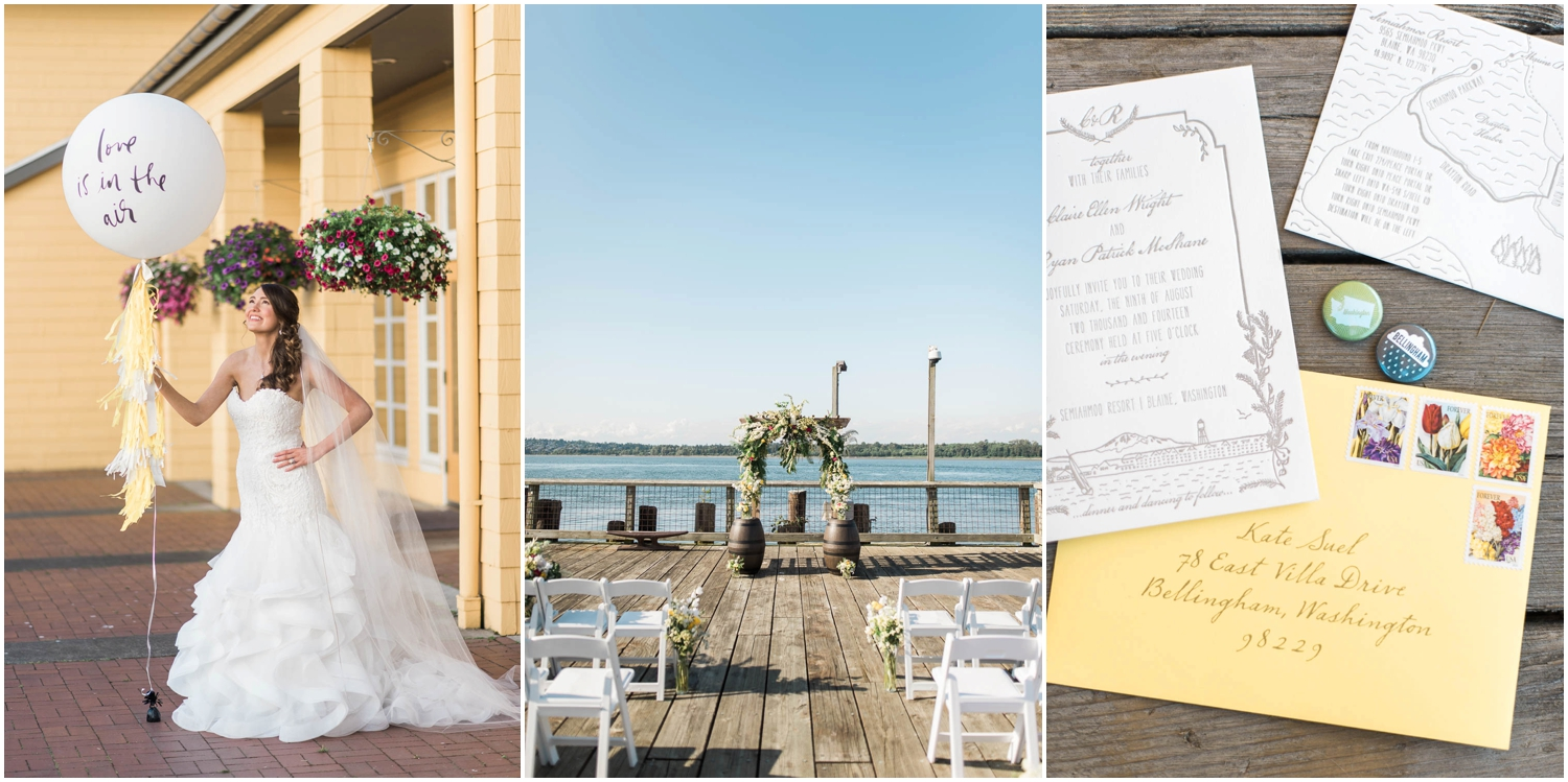 Coordination: Manette Gracie Events   Venue: Semiahmoo Resort   Stationary & Balloon: Spruce   Gown: Alicia's Bridal   Florals: Pozie by Natalie