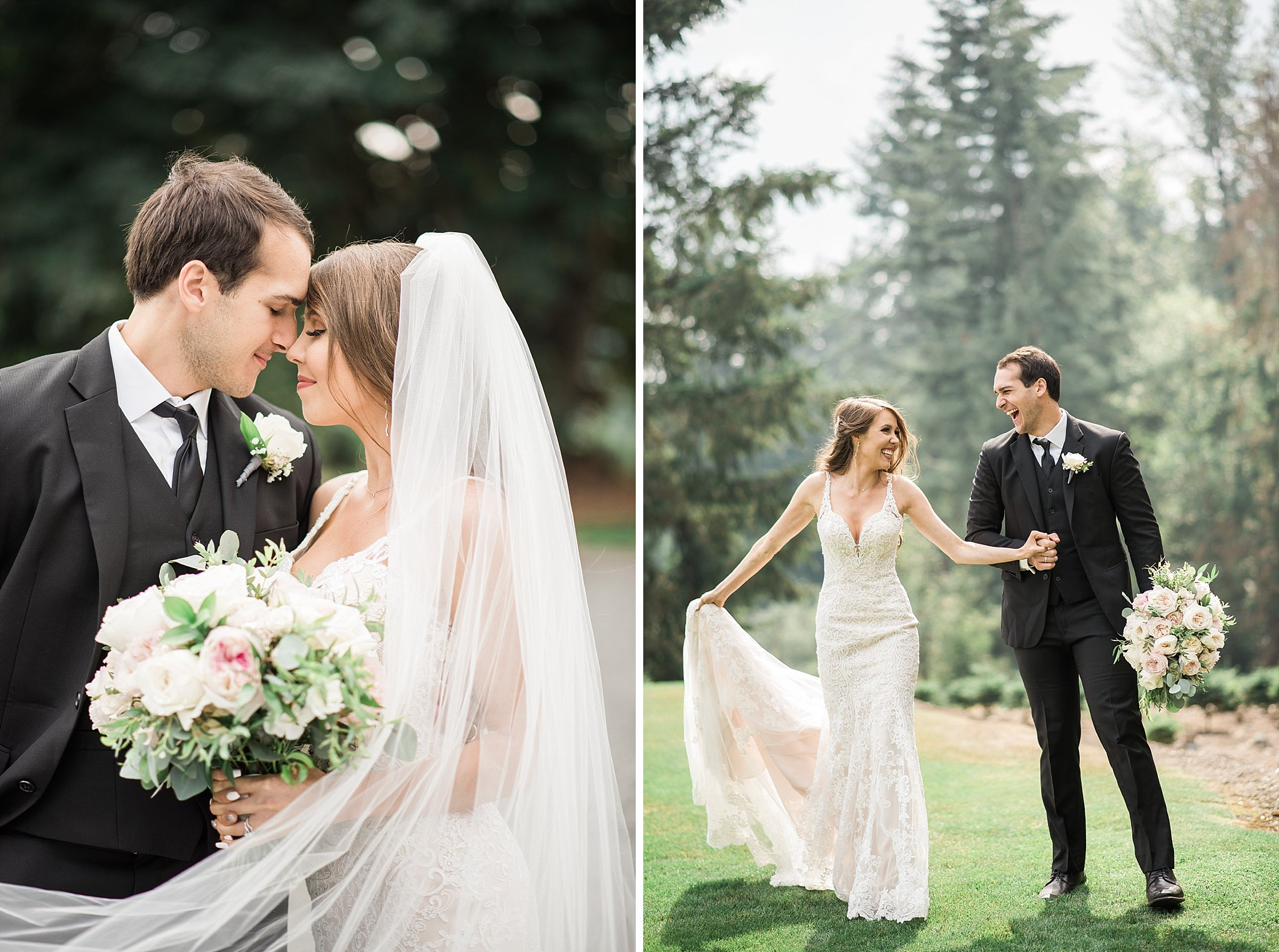 Cathedral Veil. Trinity Tree Farm Wedding Photos. Seattle Weddin