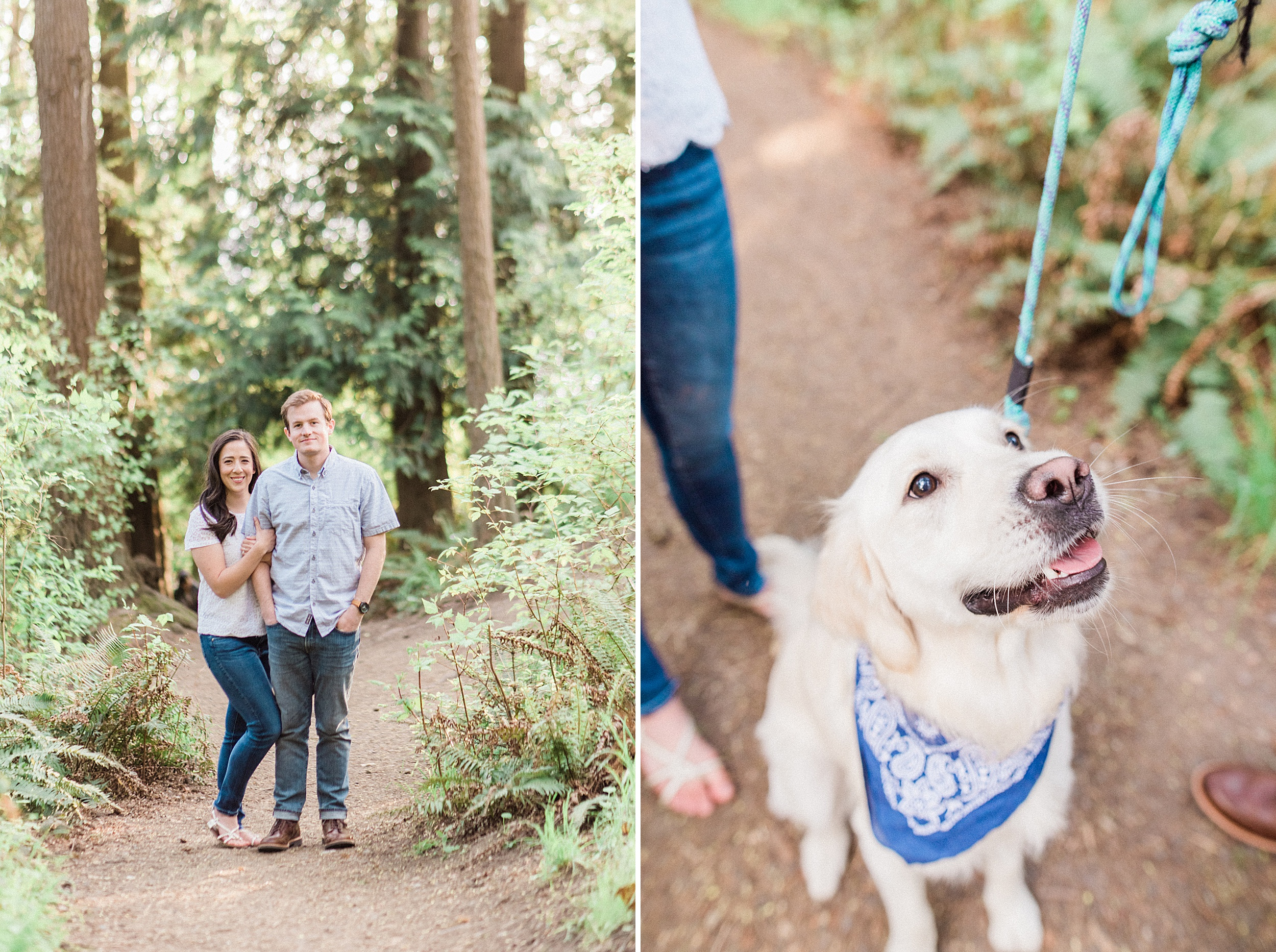 Carkeek Park Seattle Beach engagement Session with golden retrei