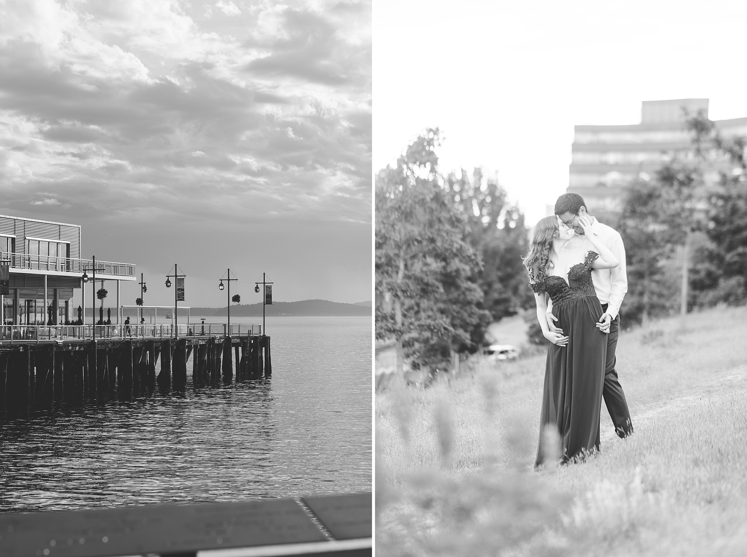 Seattle waterfront engagement photos.