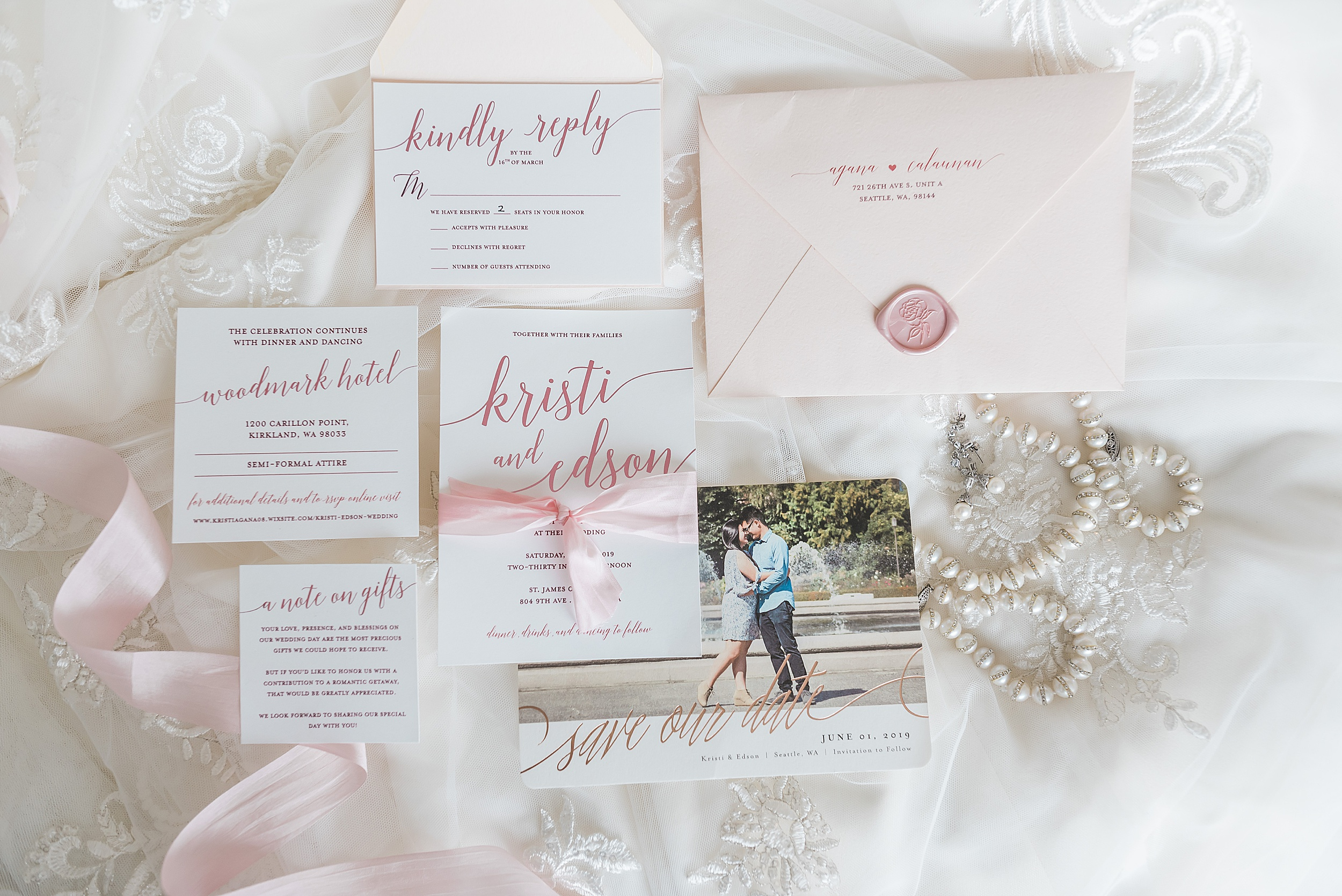 Blush wedding invitation| Woodmark Hotel Waterfront Wedding. Sea