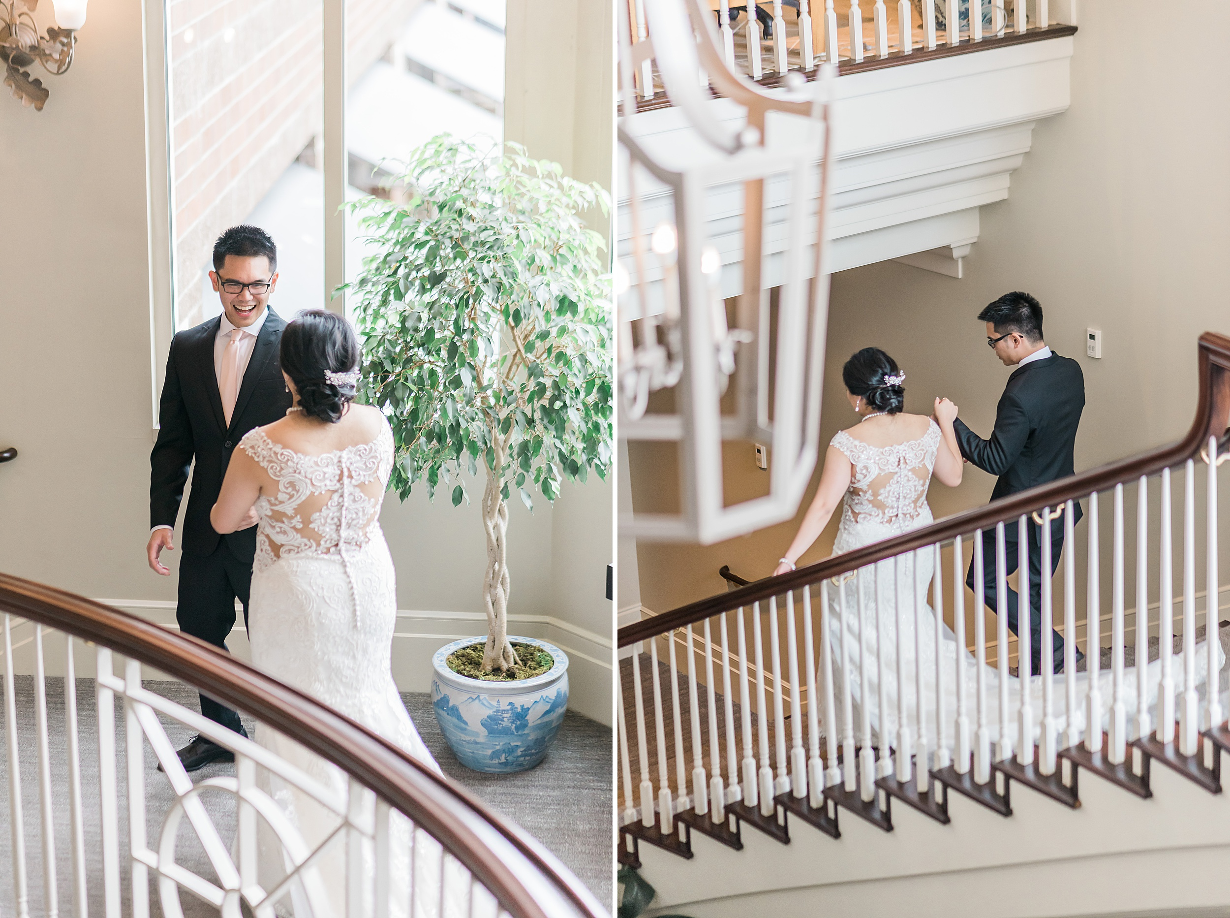 First look on staircare.Woodmark Hotel Waterfront Wedding. Seatt