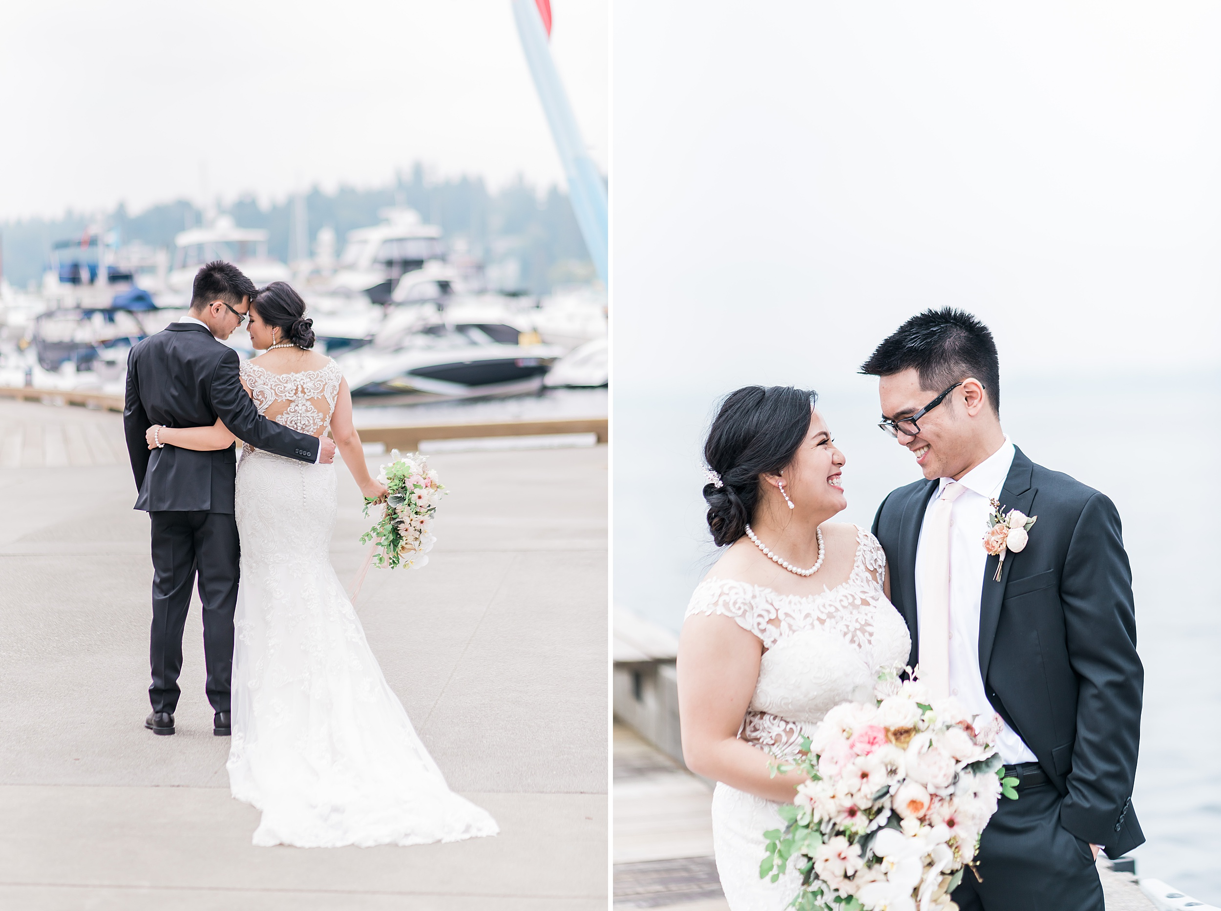 Woodmark Hotel Waterfront Wedding. Dock Photos. Seattle Wedding