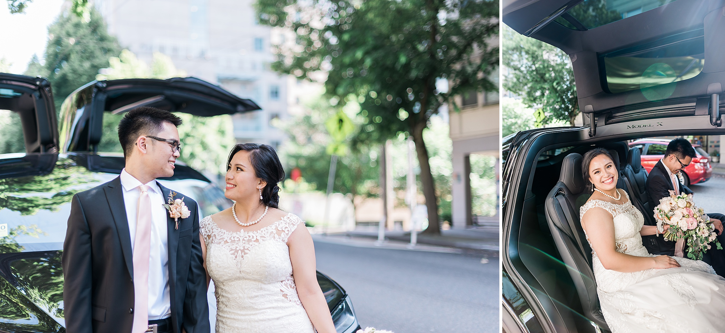 Tesla Model X. Wedding Getaway Car. Woodmark Hotel Wedding | Sea