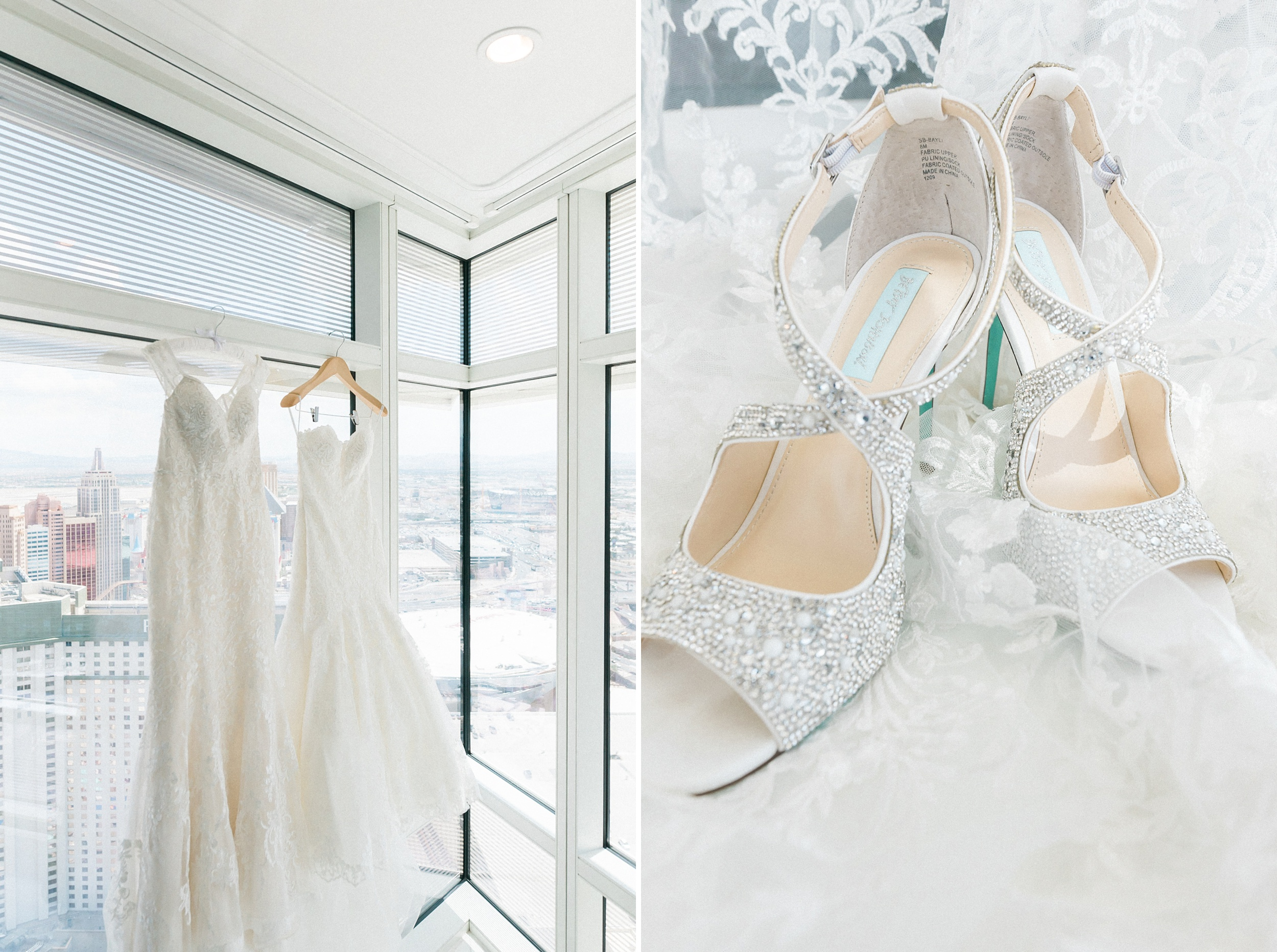 Two dresses. Aria Sky Suite Wedding. Las Vegas strip Elopement P