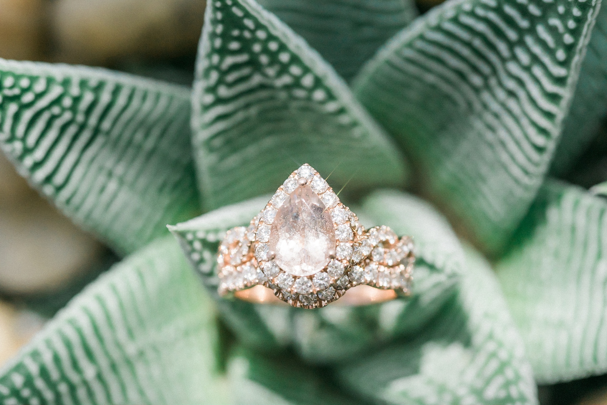 Rose Gold Pear Cut Halo Ring, Aria Sky Suite Wedding. Las Vegas