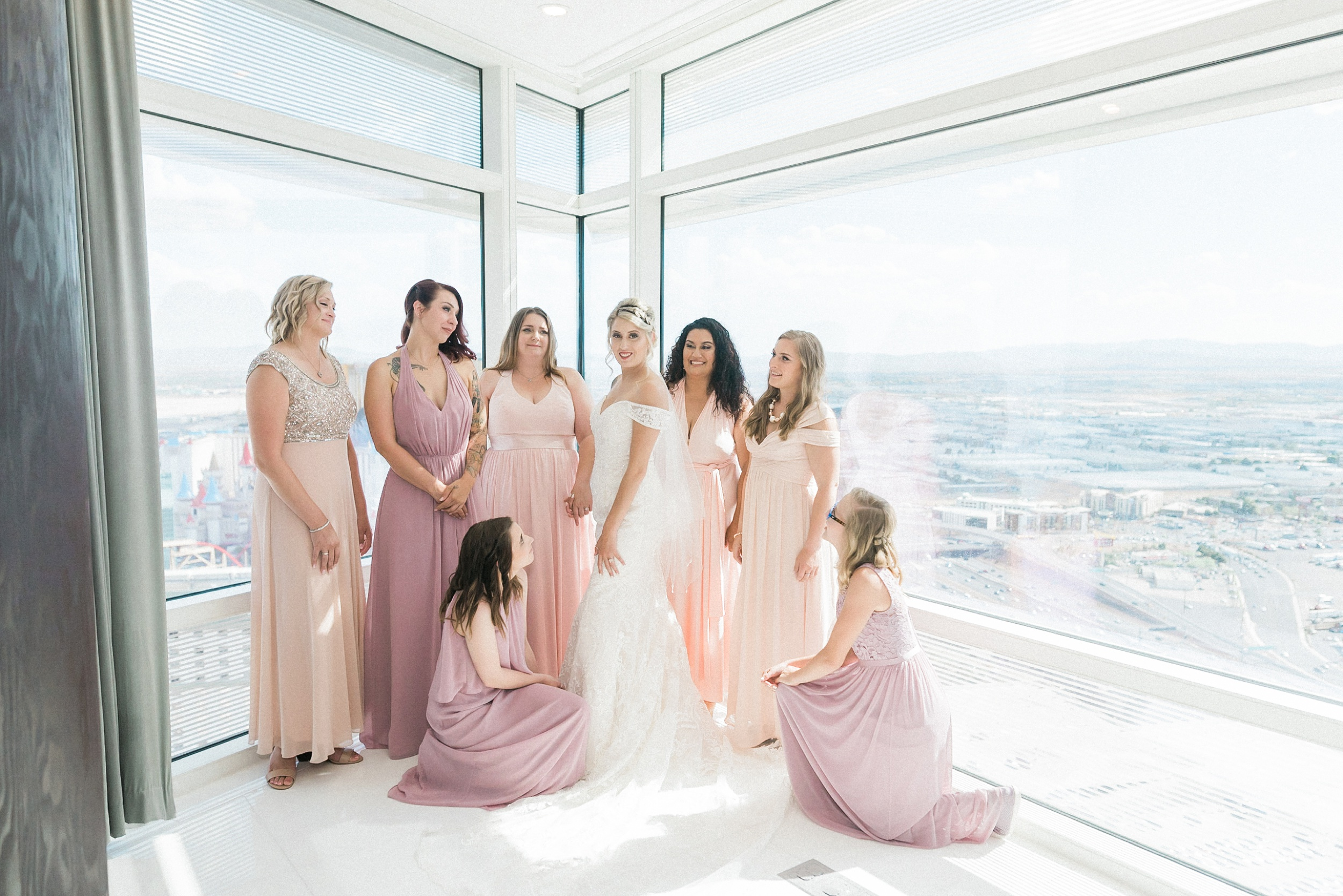 Bridesmaids. Aria Sky Suite Wedding. Las Vegas strip Elopement P