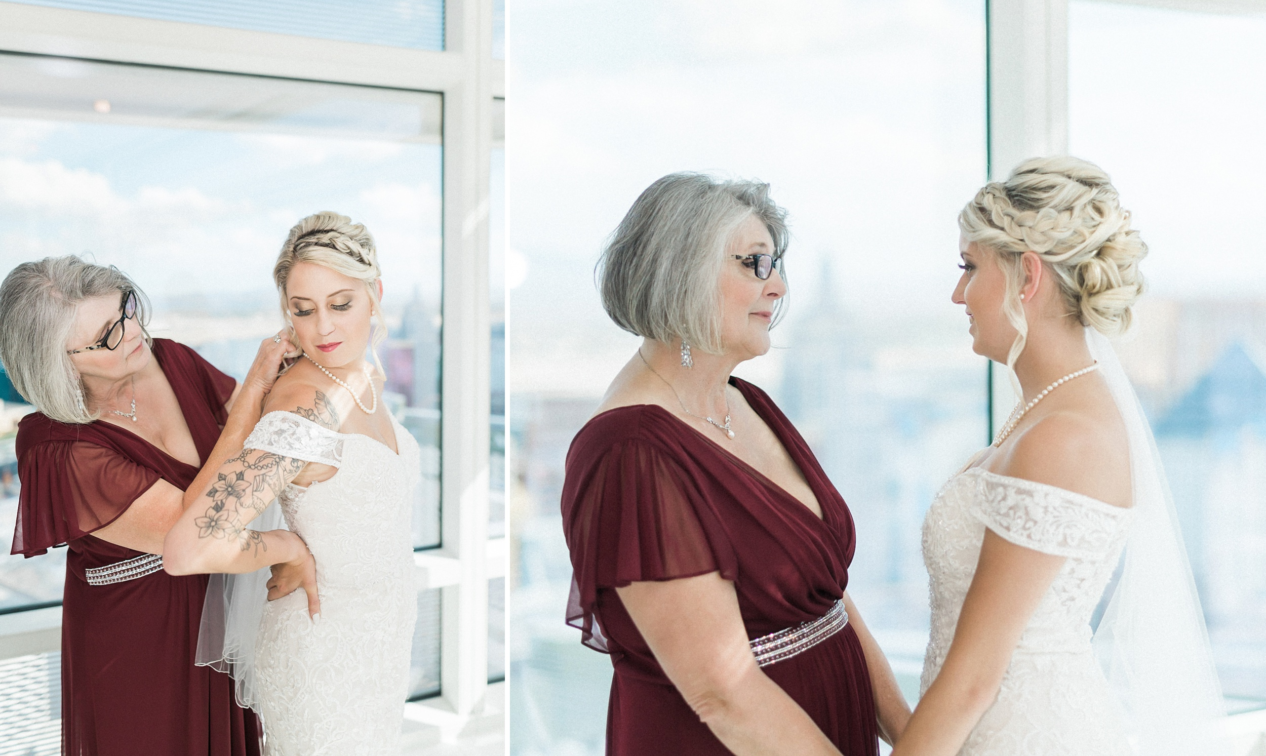 moms helping bride get ready at the Aria Sky Suite Wedding. Las