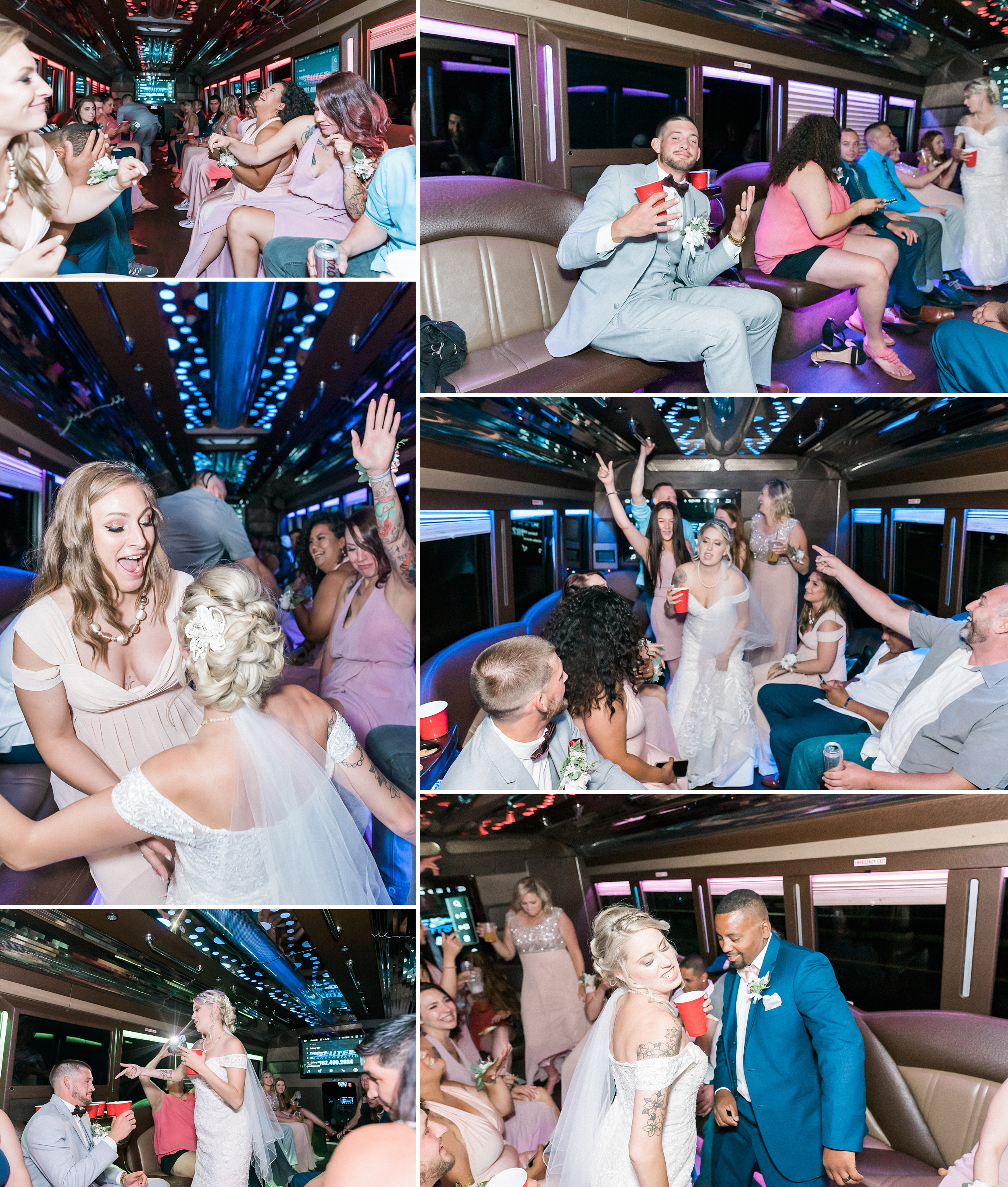 Bridal party on a Party Bus Las Vegas Elopement Wedding. Mount C