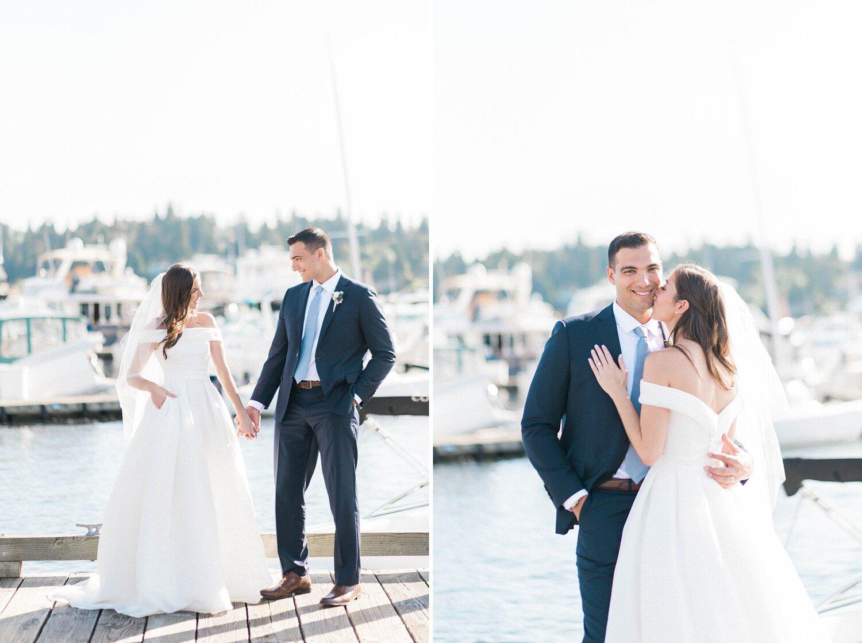 Kathleen  & Michael's Woodmark wedding. Photos on the Dock at Ca