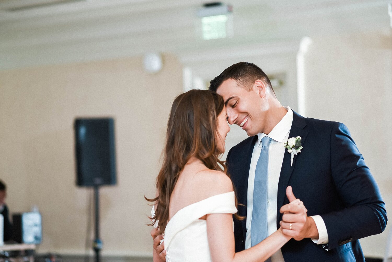 Kathleen  & Michael's first dance at Woodmark Hotel wedding rece