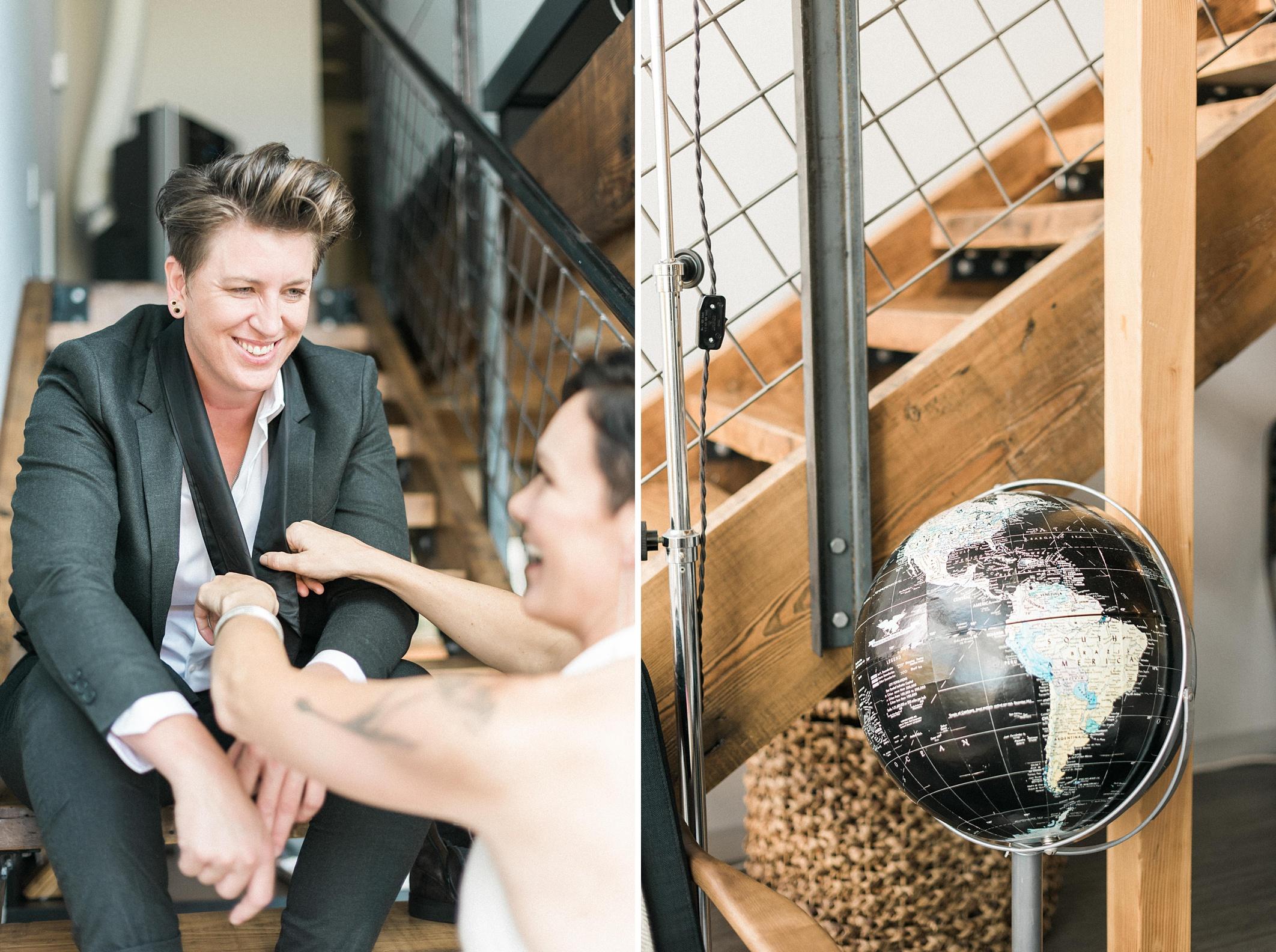 Lesbian Industrial chic hipster wedding. Bloom by Tara. Seattle