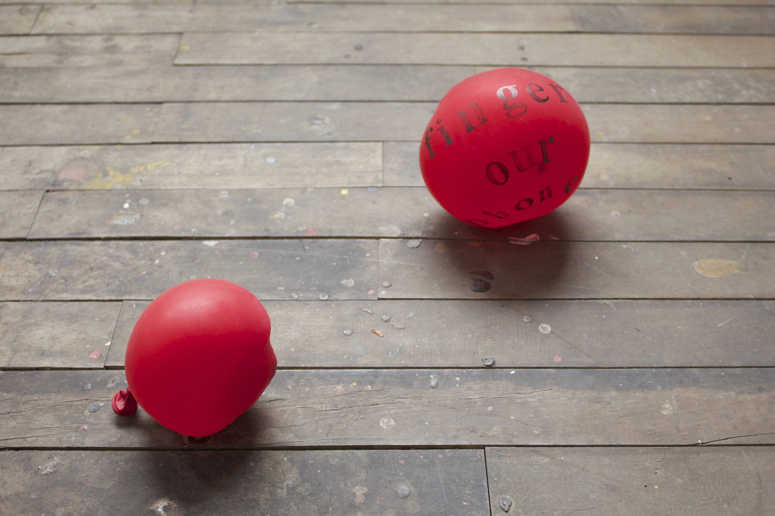 Always and Forever,  Hand stamped balloons, ink, dimensions variable, 2016.
