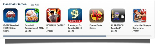 Penny Parlor was part of an App Store Baseball Games collection to celebrate the start of Baseball season in April 2012.