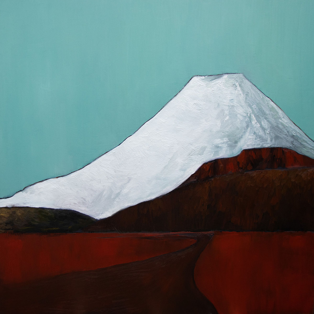 Red road to Ngauruhoe. 2018 / Oil on canvas / 1220x1220mm (SOLD)
