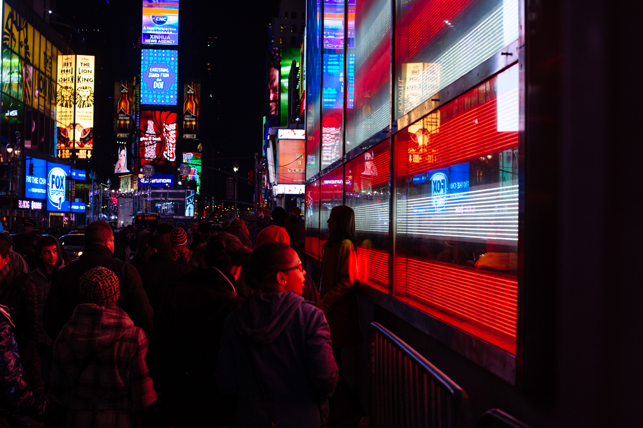 Times square was tourist level 1000 the day before the super bowl.