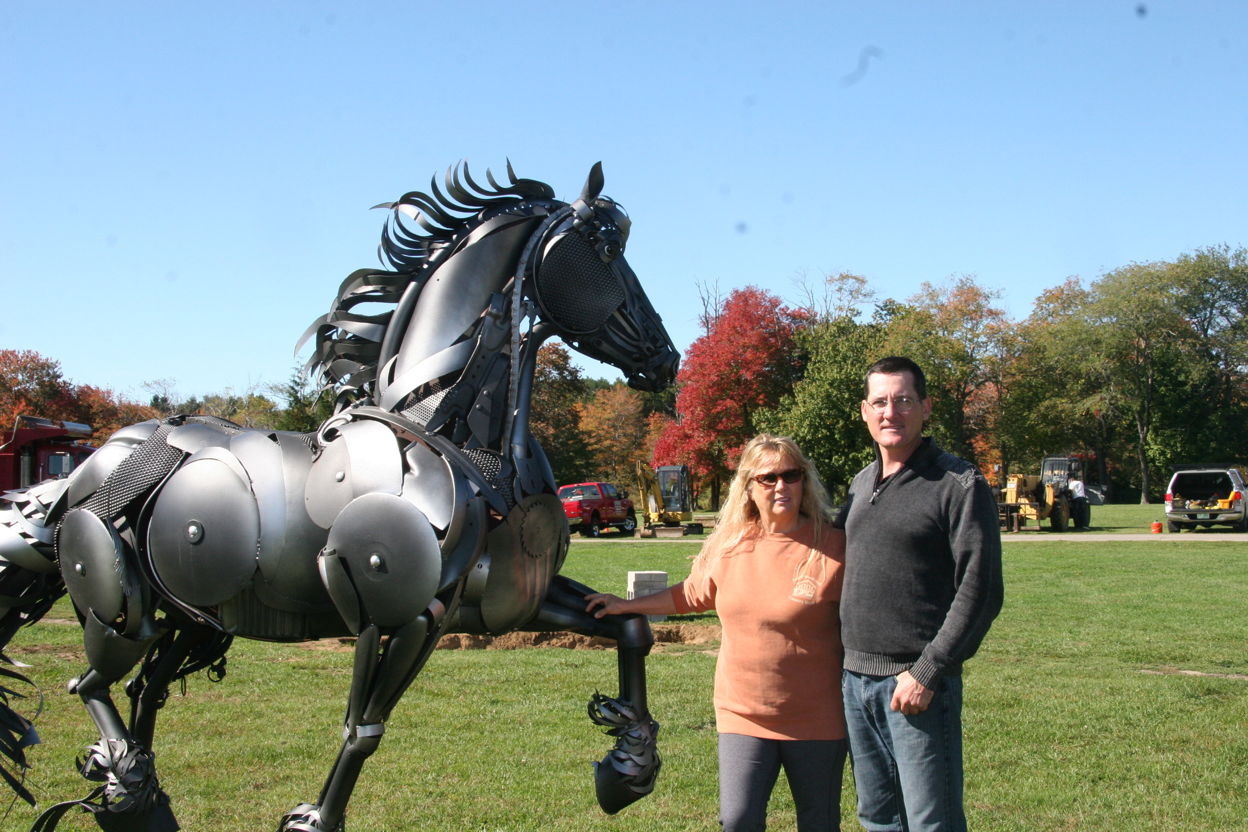 Blythe Brown (One of the owners of Historic Runnymede farms)and myself next to the likeness of Donte' installed October of 2013.