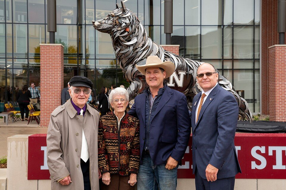 Donors KA and Sally Squires myself and the President of NSU Timothy Downs on the day of the dedication of the sculpture.