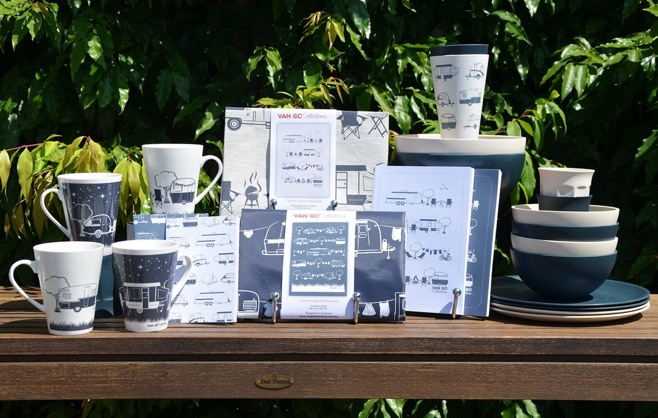 Products currently in stock at The Little Shop of Plenty:   Expandable Laundry bag: $24.95 Tote Bag: $17.95 100% Linen Tea Towels 19.95 Bone China Mug: $19.95 Toiletry Bag: $32.95 Bamboo Tumber: Design $8.50 or plain $7 Bamboo caravan plates $14.95 ARRIVING SOON Bamboo Entertainment platter $24.95 Bamboo leaf platters Small (30cm) $19.95  Large (40cm) $29.95 Bamboo salad servers $10.95 Gift Cards: $6