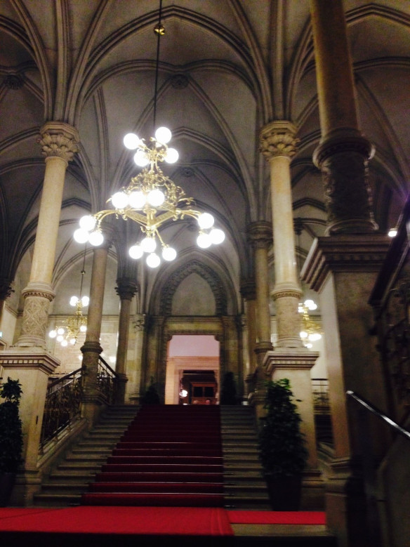 View of the historic Town Hall in Vienna – site of the competition cocktail party. Photo Copyright Rosemary Howell