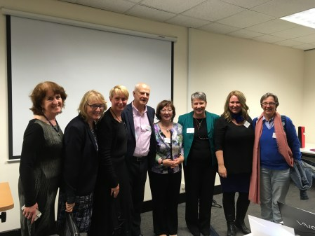 Rachael Field and Laurence Boulle celebrate the launch with Hilary Astor, Members of Resolution Institute and the ADR Research Network