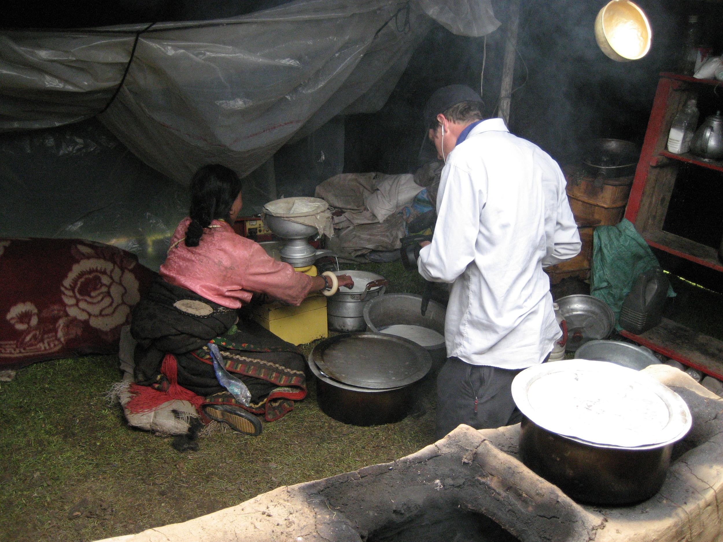 Nelson films Yama making butter