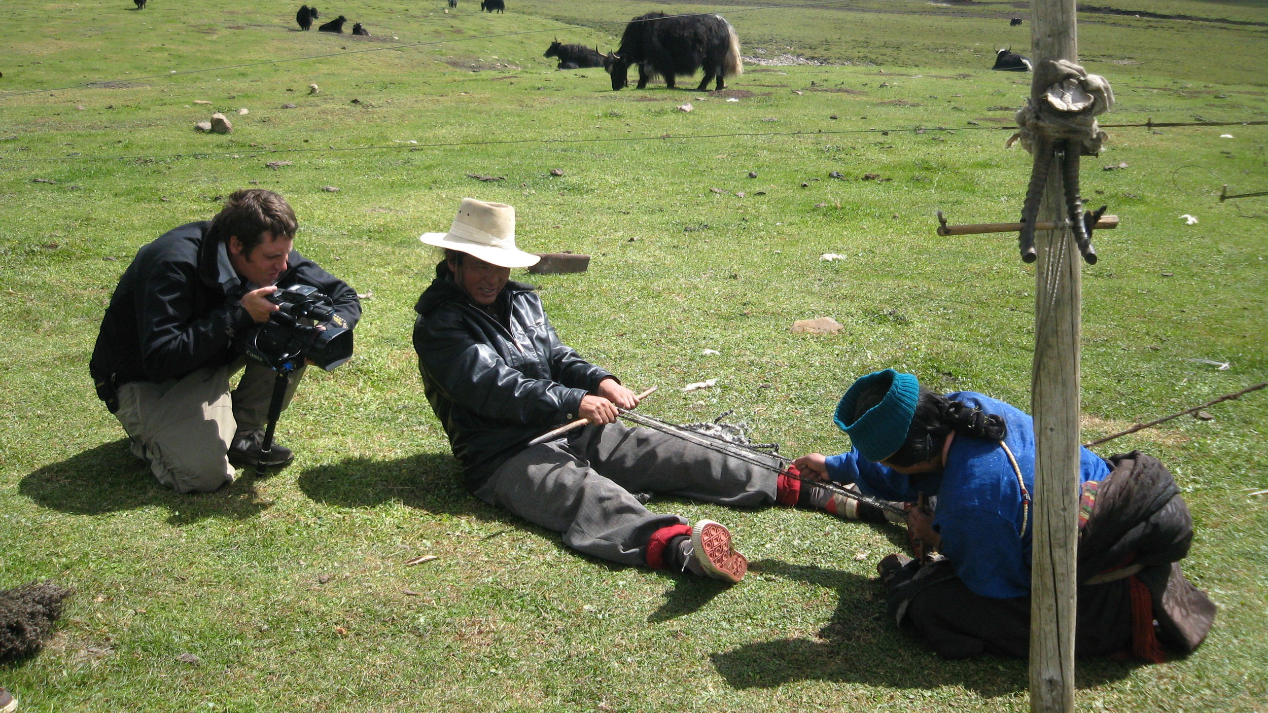 Nelson shoots Locho and Yama making yak hair rope