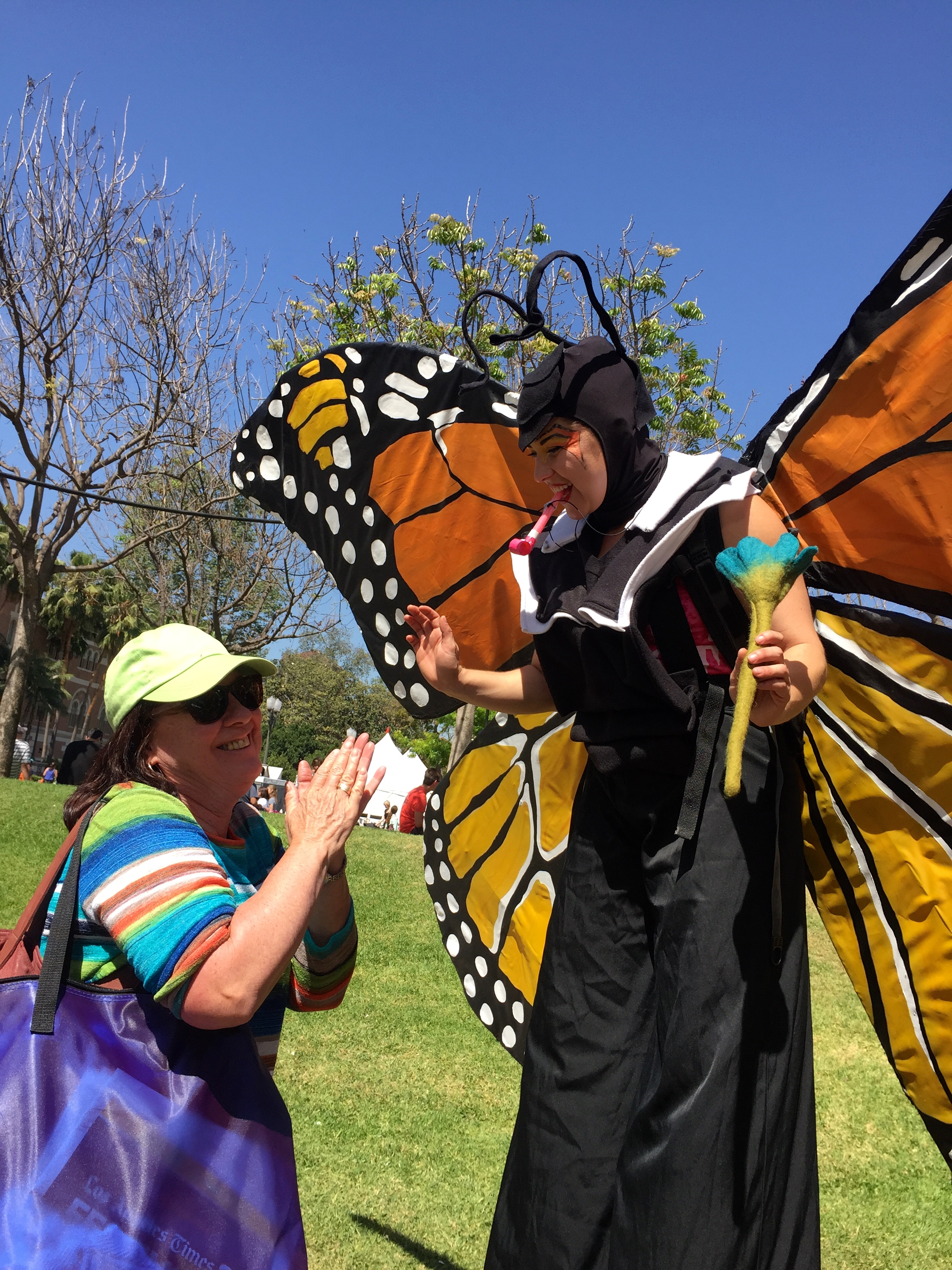 Andy with a live butterfly at the LA Times Festival of Books.