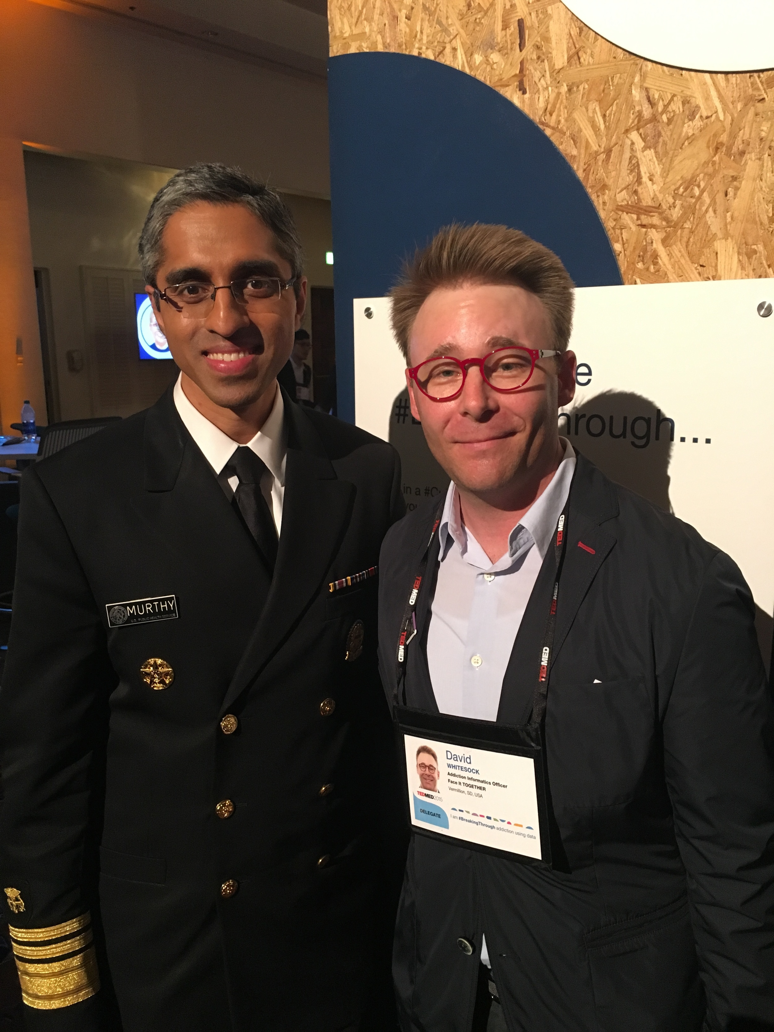With U.S. Surgeon General, Vivek Murthy at TEDMED, November 20, 2015, Palm Springs, CA.