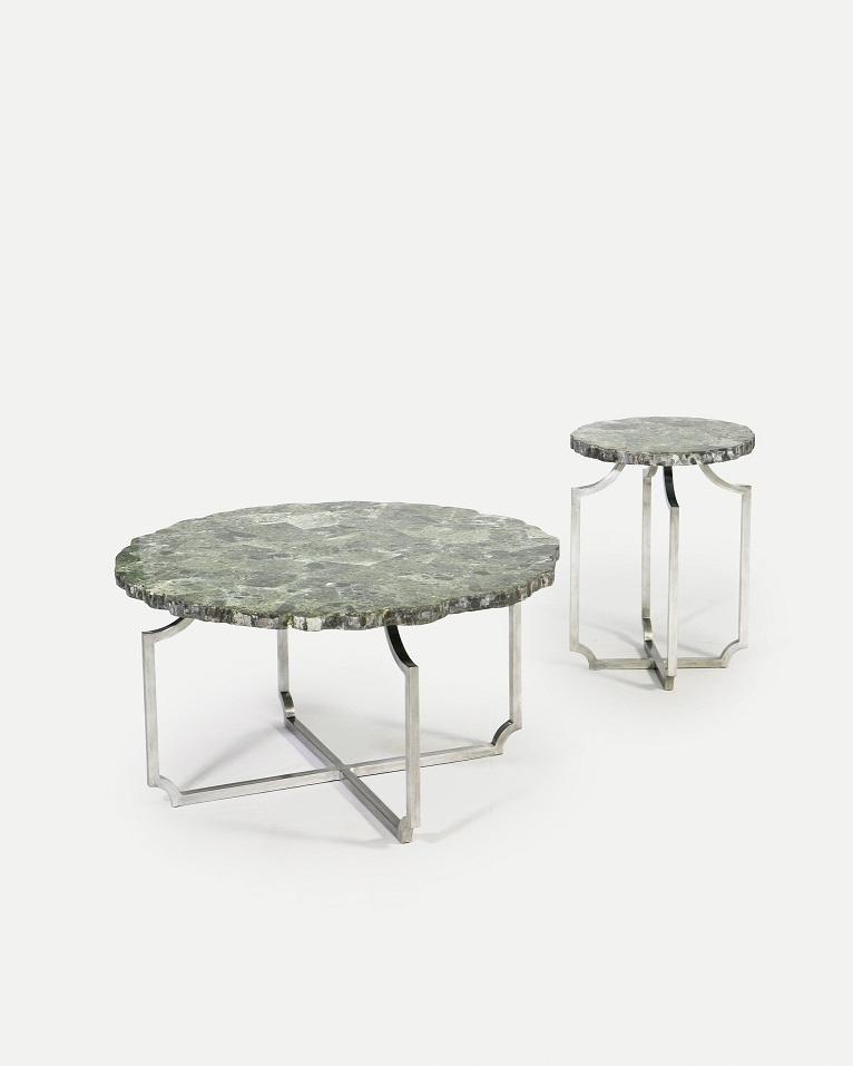 Co-Creative Studio, Detalia Aurora,Quarrie Tables, Green Wax Stone Lamination.jpg