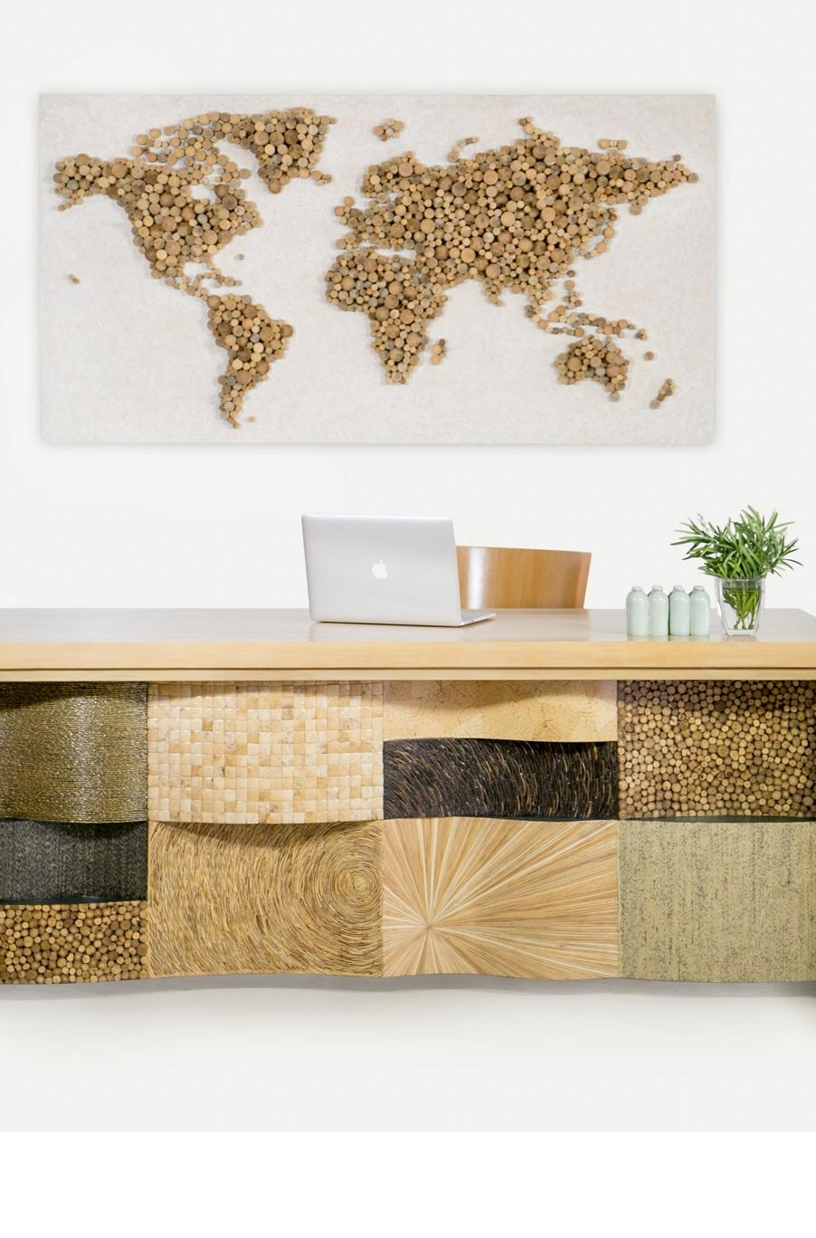 Co-Creative Studio, Detalia Aurora, World Map Wall Art, Rattan Poles, Upcycled A.jpg