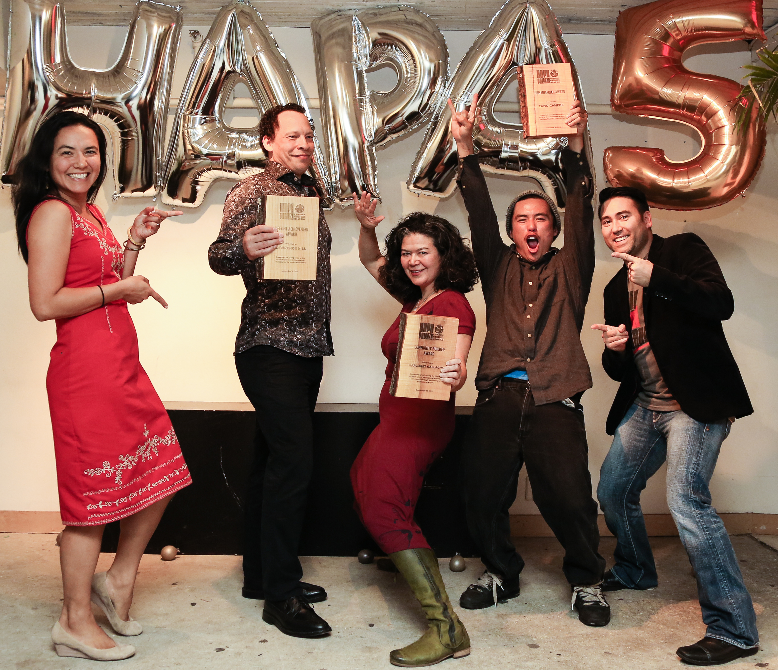 Festival founders Anna Kaye and Jeff Chiba Stearns flank Hapa-palooza's 2015 award recipients Lawrence Hill, Margaret Gallagher and Tamo Campos. Congratulations to the award winners on their many achievements!