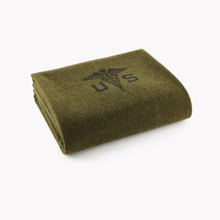 Faribault Foot Soldier Military Wool Blanket - Army Medic Green