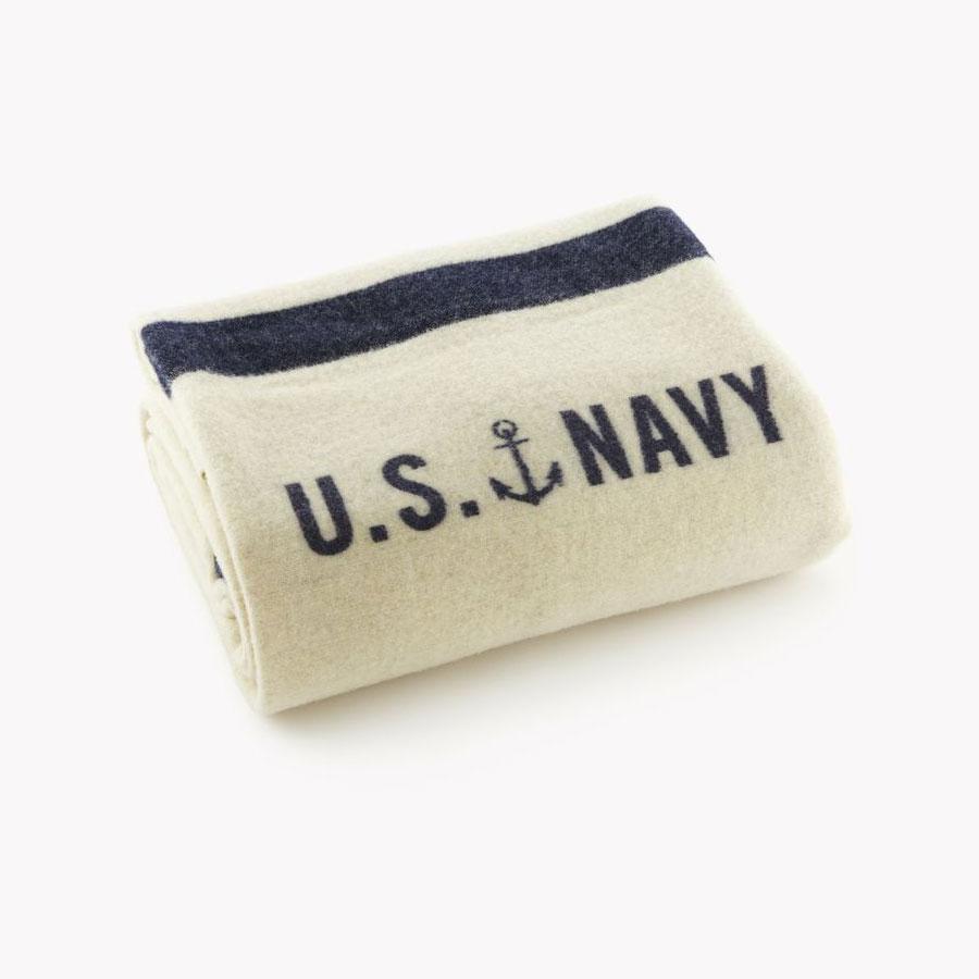 Faribault Foot Soldier Military Wool Blanket - Navy Cream