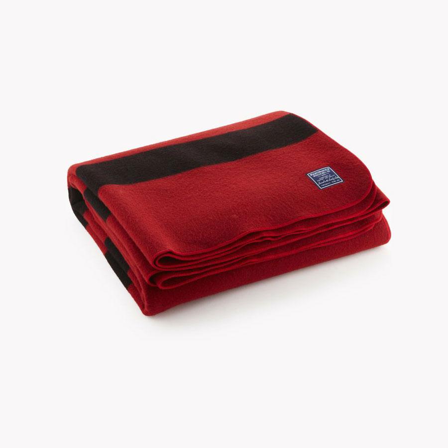Faribault Revival Stripe Wool Blanket - Red
