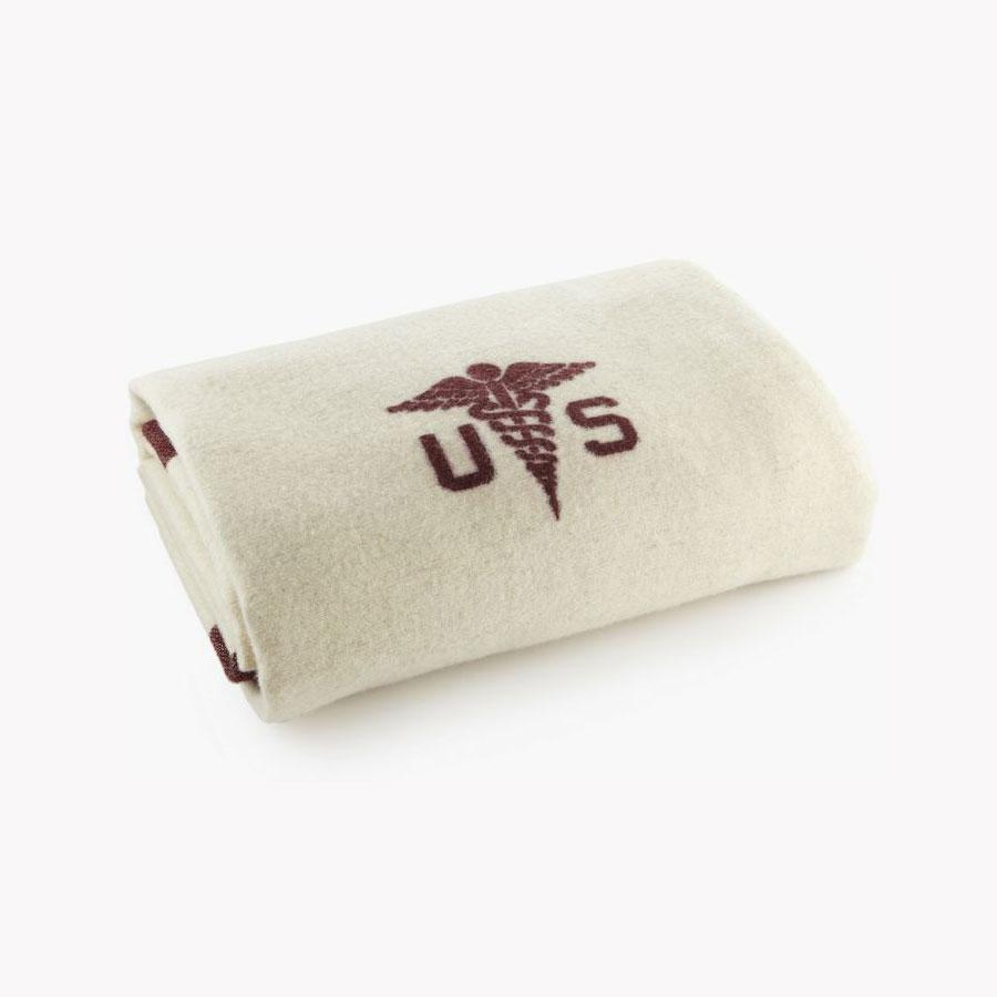 Faribault Foot Soldier Military Wool Blanket - Medic Cream
