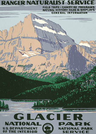 WPA Glacier National Park  Poster Reproduction. Prints available at   Ranger Doug  .