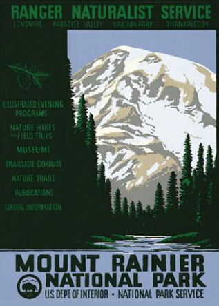 WPA Mount Rainier National Park Poster Reproduction.  Prints available at   Ranger Doug