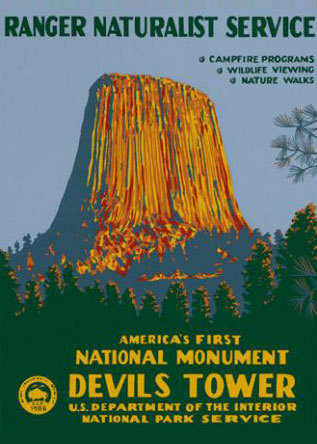 Ranger Doug Devil's Tower National Park Poster. Image Courtesy of   Ranger Doug  . Prints available at   Ranger Doug  .