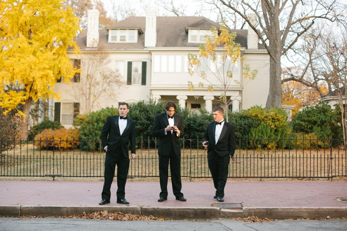 Groomsmen standing around waiting