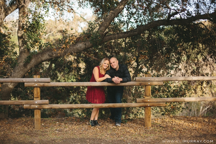 Wooden Fence Engagement Photos