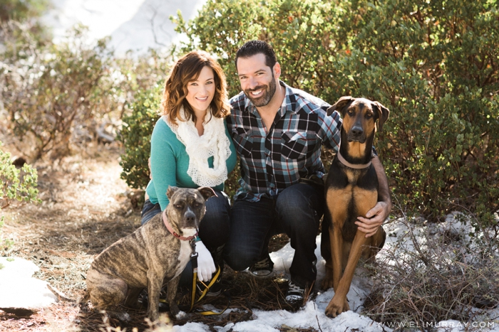Engagement Photos of couple with 2 dogs