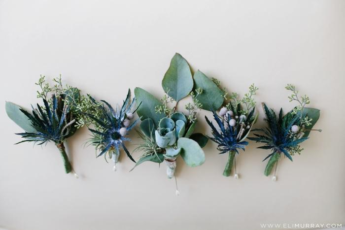 succulent boutonnieres wedding idea