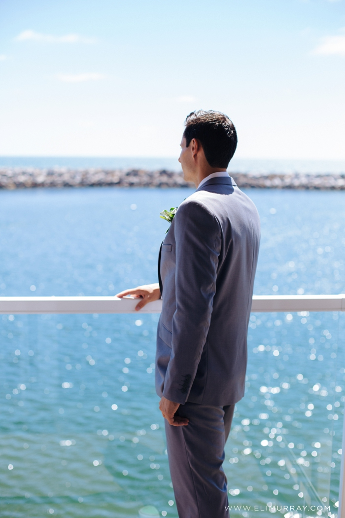 Groom on the water in Southern California
