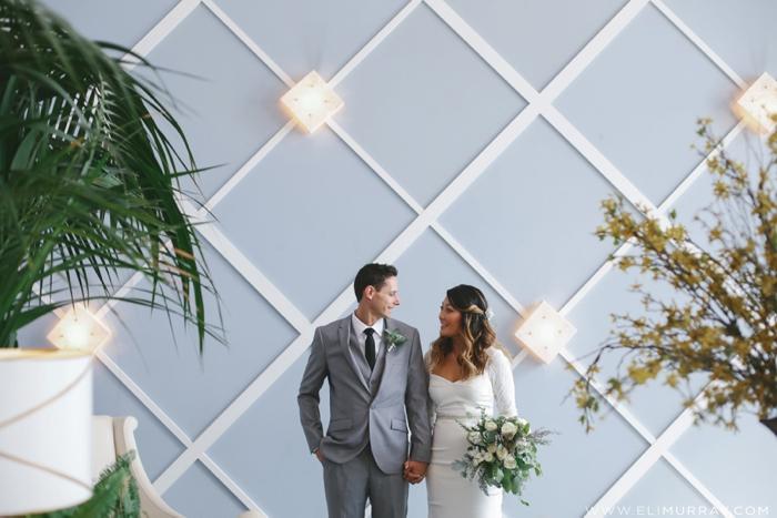 Bride and groom in portofino hotel