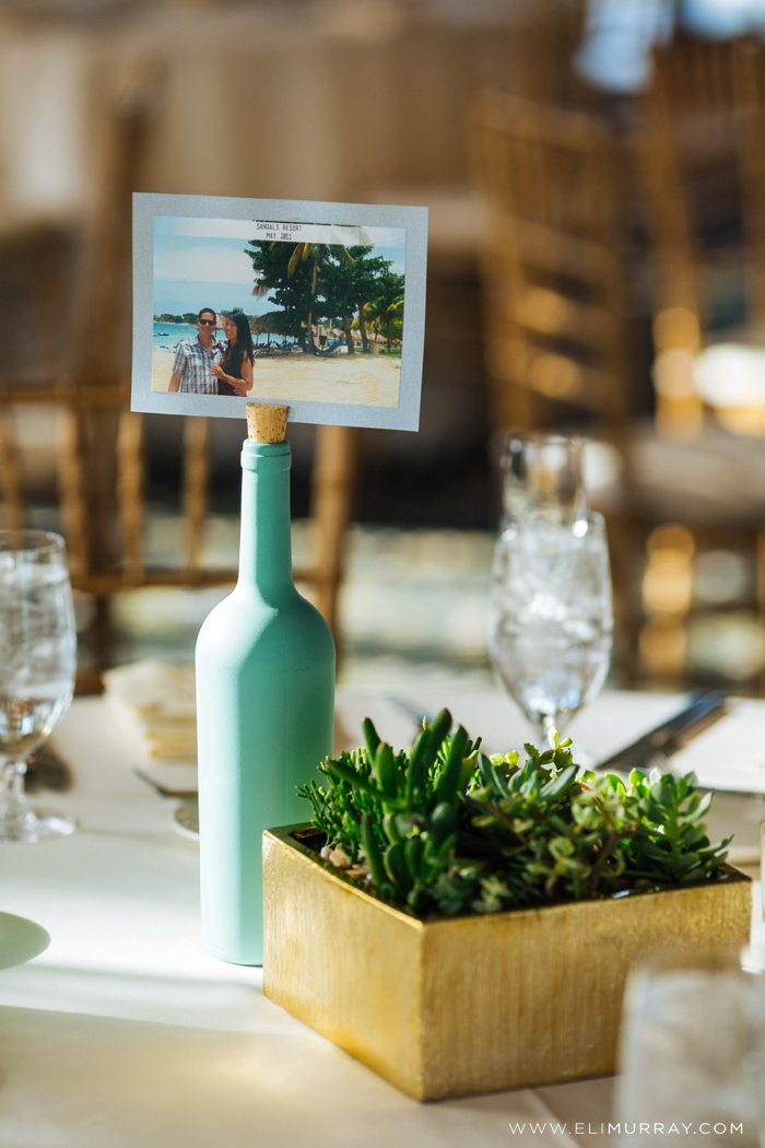 gold and green wedding reception details
