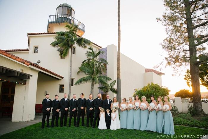 wedding party portrait at tom ham's lighthouse