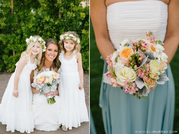 bride with flower girls and floral wedding bouquet